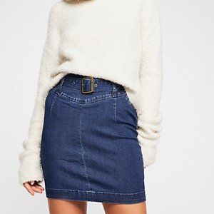 "FREE PEOPLE ""Livin' It Up"" Denim High Waist Skirt"